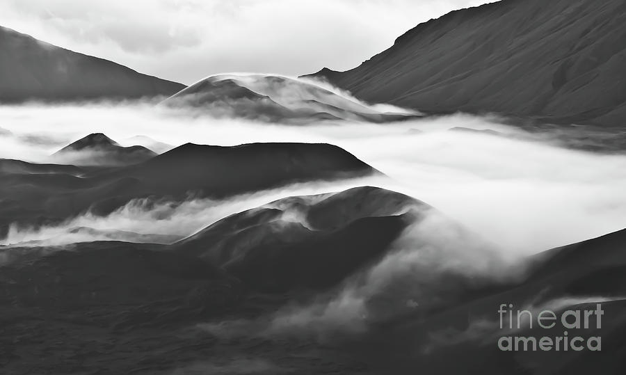 Mountains Photograph - Maui Hawaii Haleakala National Park Clouds in Haleakala Crater by Jim Cazel