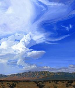 Desert Landscape Painting - Clouds Over Cleghorn by Mary-Austin Klein