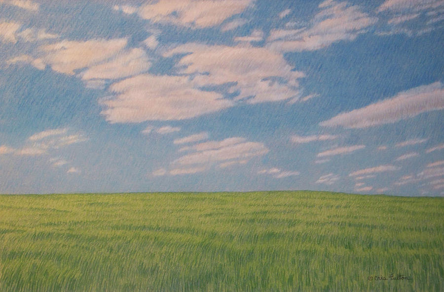 North Dakota Drawing - Clouds Over Green Field by Cris Fulton