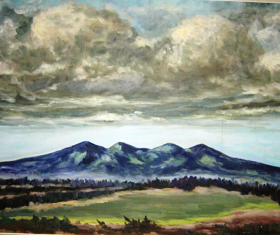 Landscape Painting - Clouds Over Hills by Ujjagar Singh Wassan
