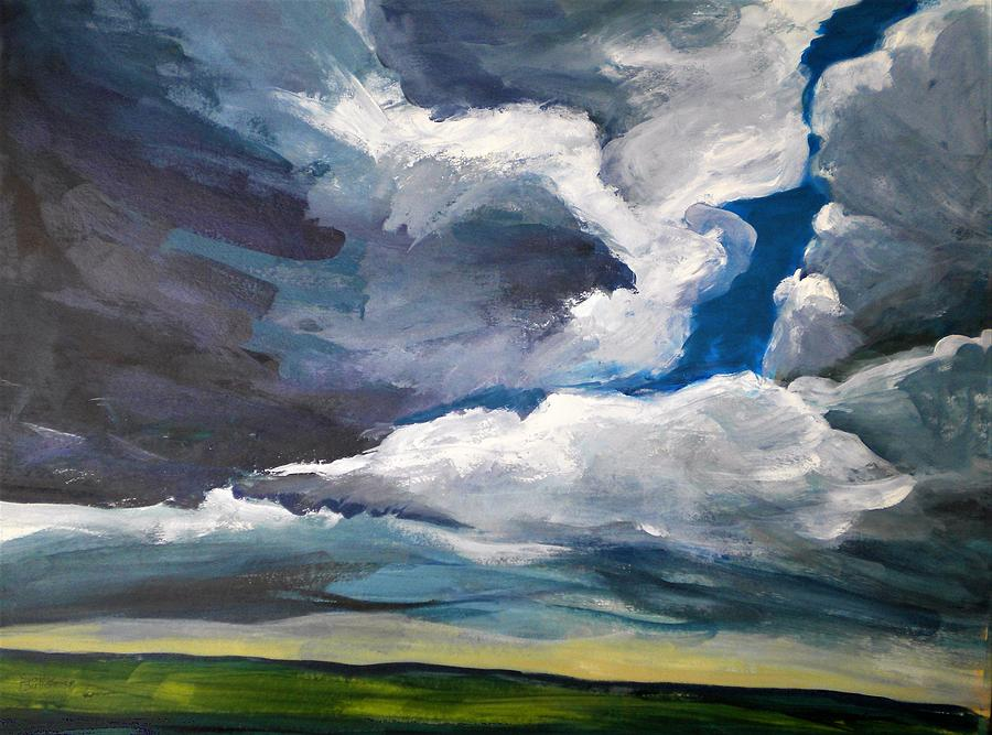 Clouds Painting - Clouds Over The Prairie by Sally Bullers