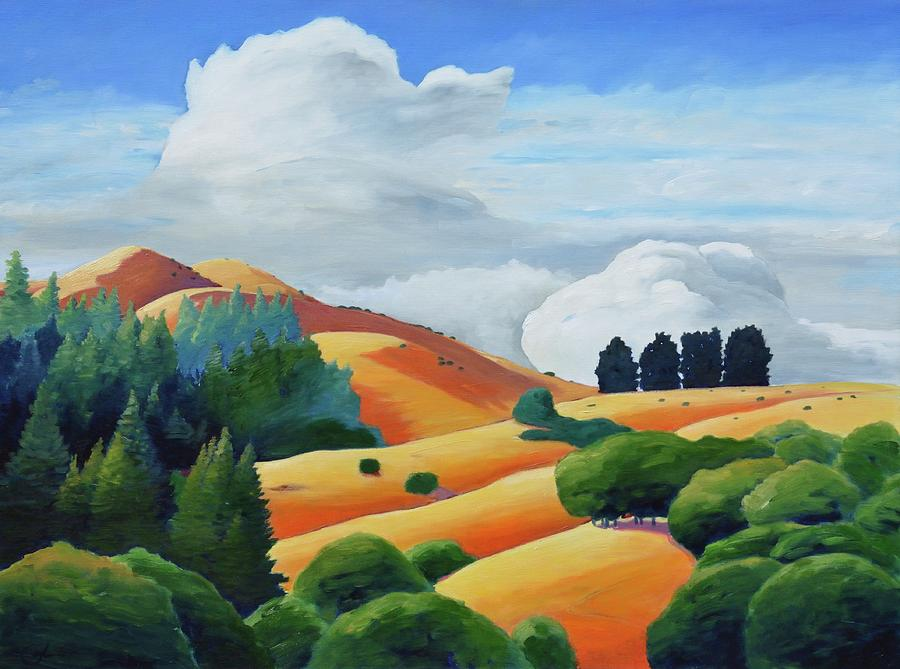 Clouds Painting - Clouds Over Windy Hill by Gary Coleman