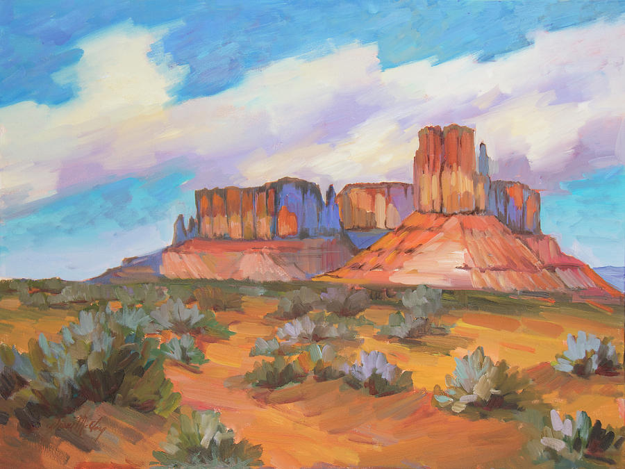 Monument Valley Painting - Clouds Passing Monument Valley by Diane McClary