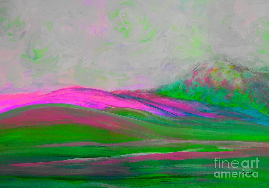 Clouds Rolling In Abstract Landscape Pink Painting