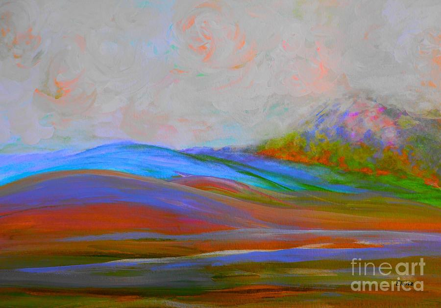 Clouds Rolling In Abstract Landscape Turquoise Painting