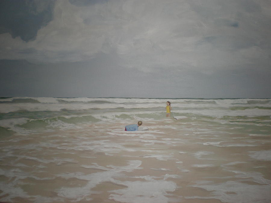 Clouds Painting - Cloudy Beach Day by Kathy Castro