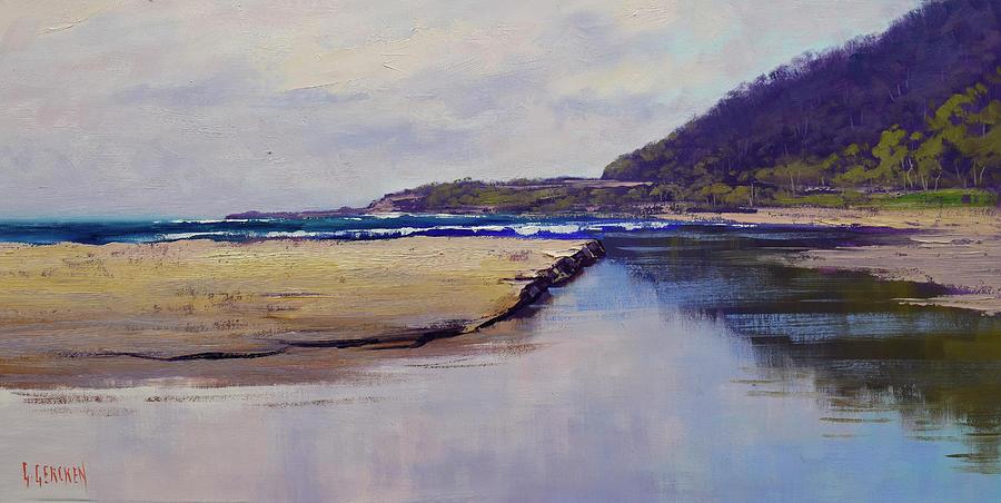 Cloudy Coastline Painting