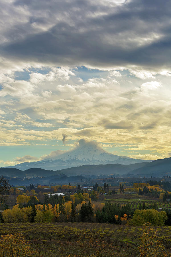 Hood River Photograph - Cloudy Day over Mount Hood at Hood River Oregon by David Gn