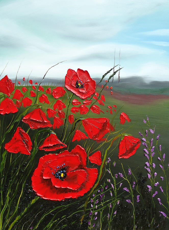 Cloudy Day Red Poppies Painting by Dunbars Modern Art