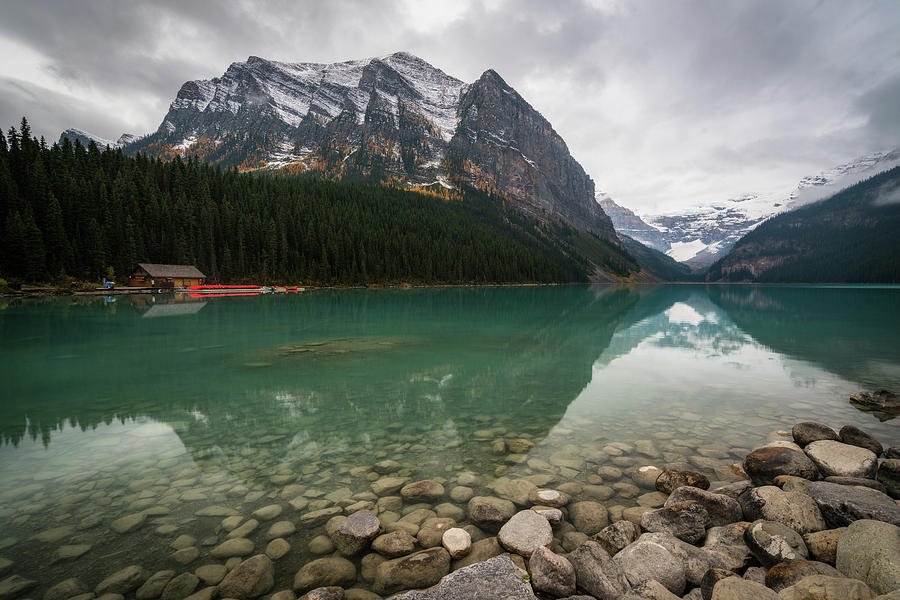 Cloudy Fall Day At Lake Louise Photograph