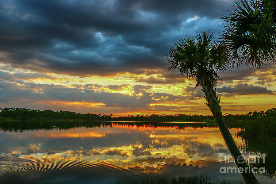 Clouds Photograph - Cloudy Lake Sunset by Tom Claud