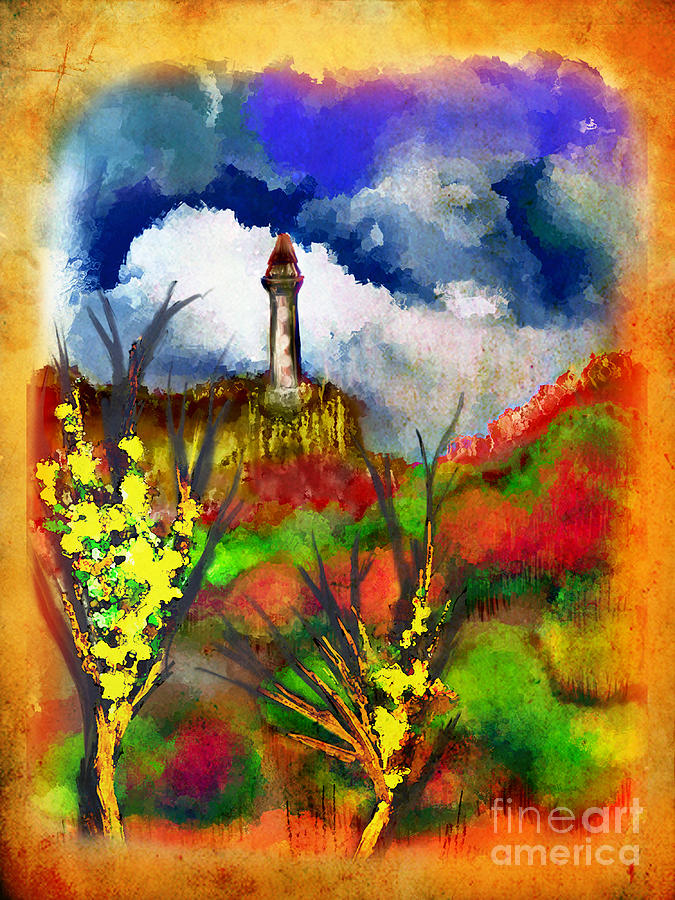 Girl Painting - Cloudy Landscape Colors by Joanna Kireli
