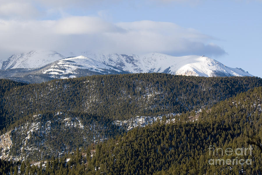 Cloudy Mantel On Pikes Peak Colorado Photograph