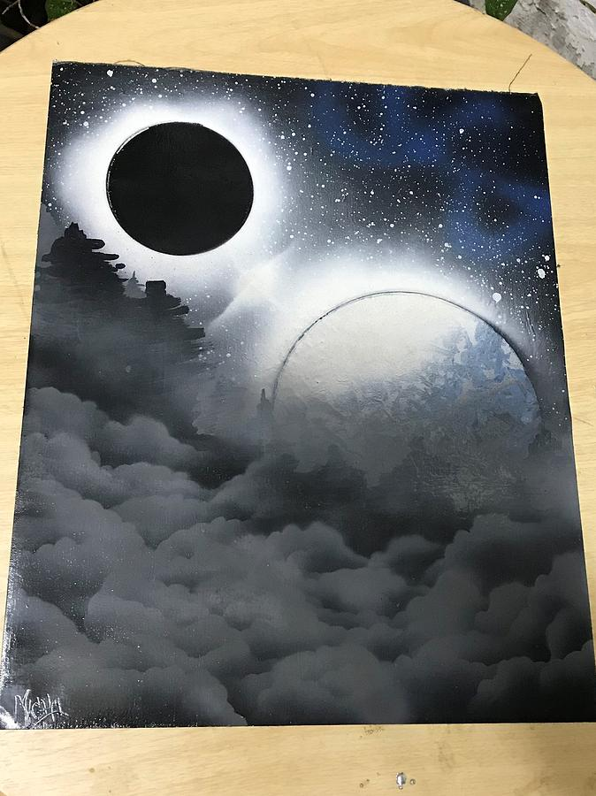 Planets Painting - Cloudy Nite by Michael Garcia