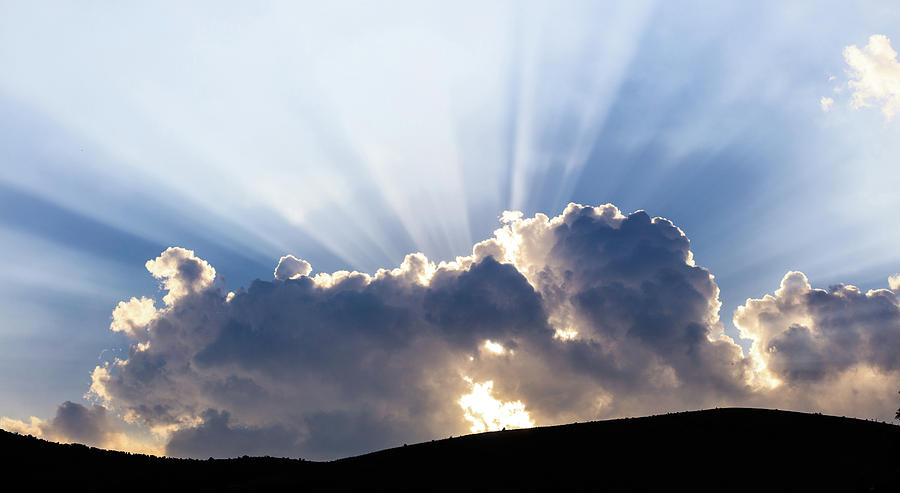 Mountains Photograph - Cloudy Sky Over Mountains Silhouette At Sunset by George Tsartsianidis