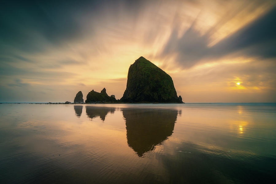 Cloudy Sunset at Cannon Beach by James Udall