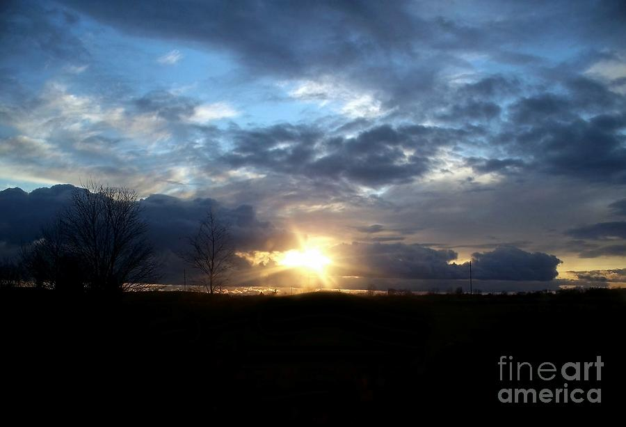 Clouds Photograph - Cloudy Sunset by Emily Kelley
