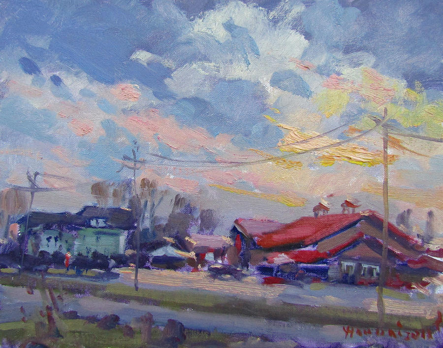Farms Market Painting - Cloudy Sunset by Ylli Haruni