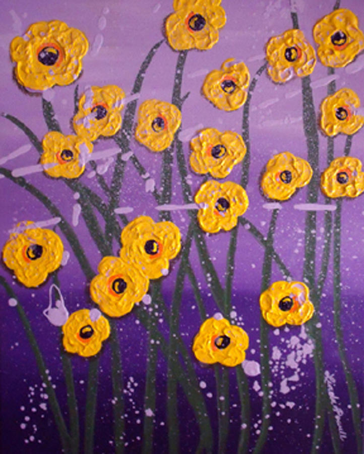 Flowers Painting - Cloudy With A Chance Of Flowers by Linda Powell