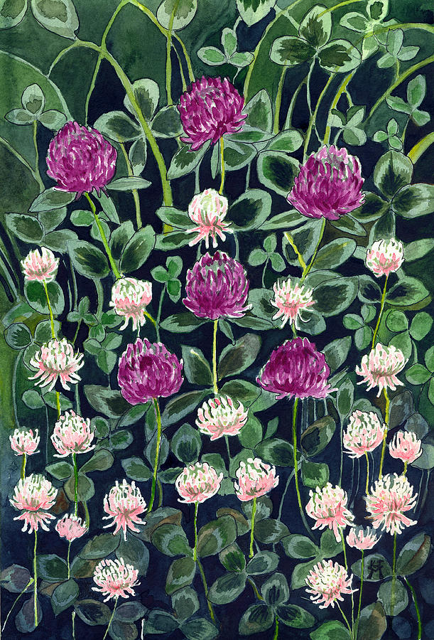 White Clover Painting - Clover by Katherine Miller