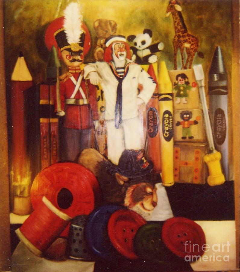 Clown Painting - Clown Among Toys by Beverly Hanni