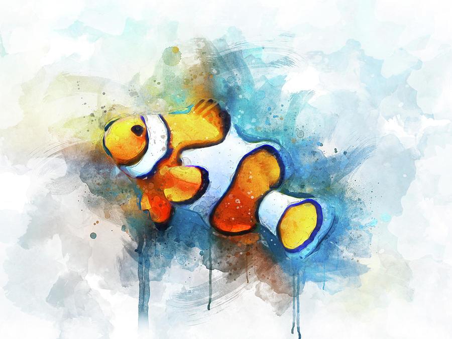 Clown Fish Digital Art - Clown Fish by Aged Pixel