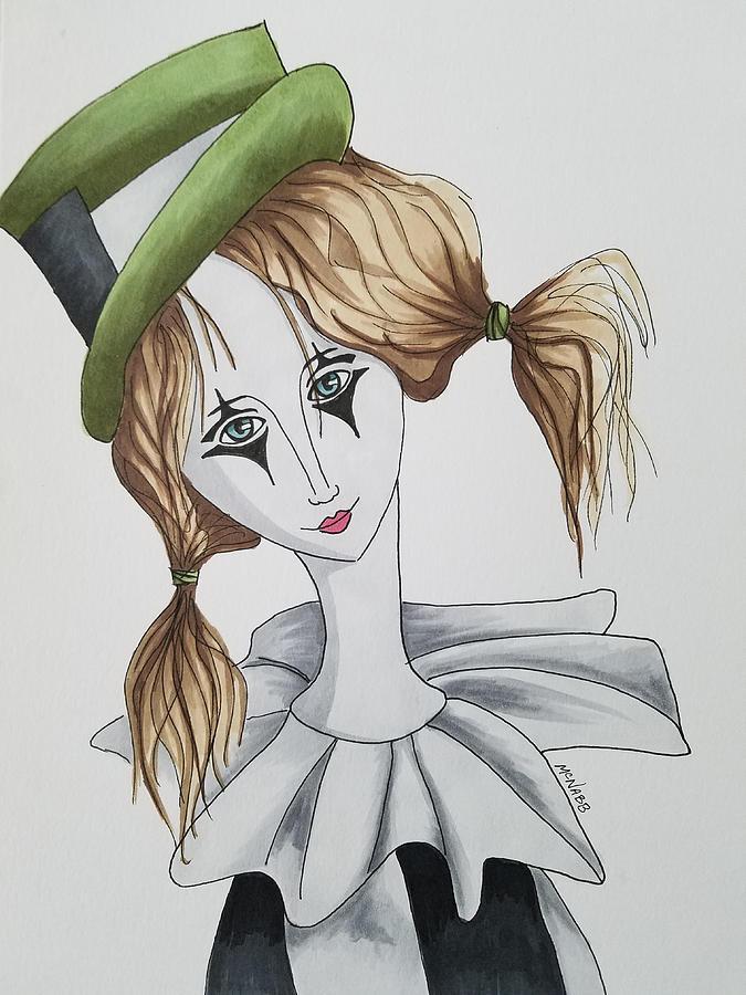 Clown Painting - Green Hat Clown by Johnny McNabb