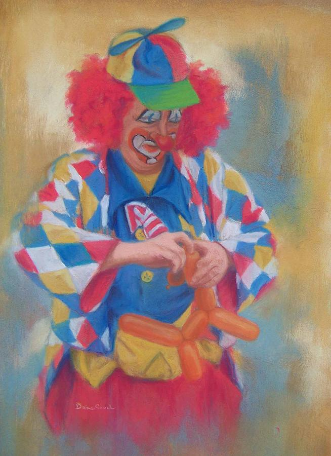 Clown Painting - Clown Making Balloon Animals by Diane Caudle