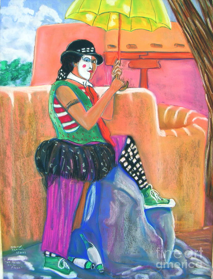 Clowns Pastel - clown on Taos plaza by George Chacon
