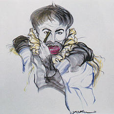 Clown Drawing by Opoku Acheampong