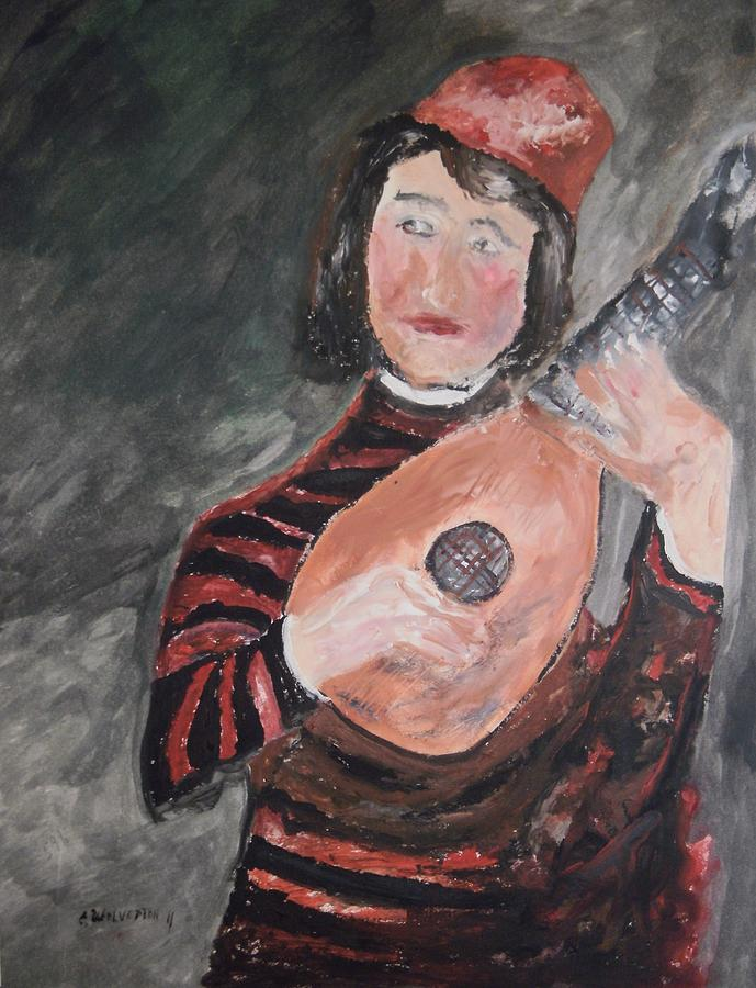 Clown Painting - Clown Playing The Lute by Edward Wolverton