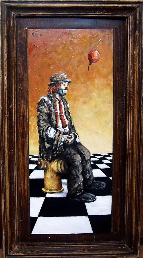 Clown S Melancholy Painting by Natalia Tejera