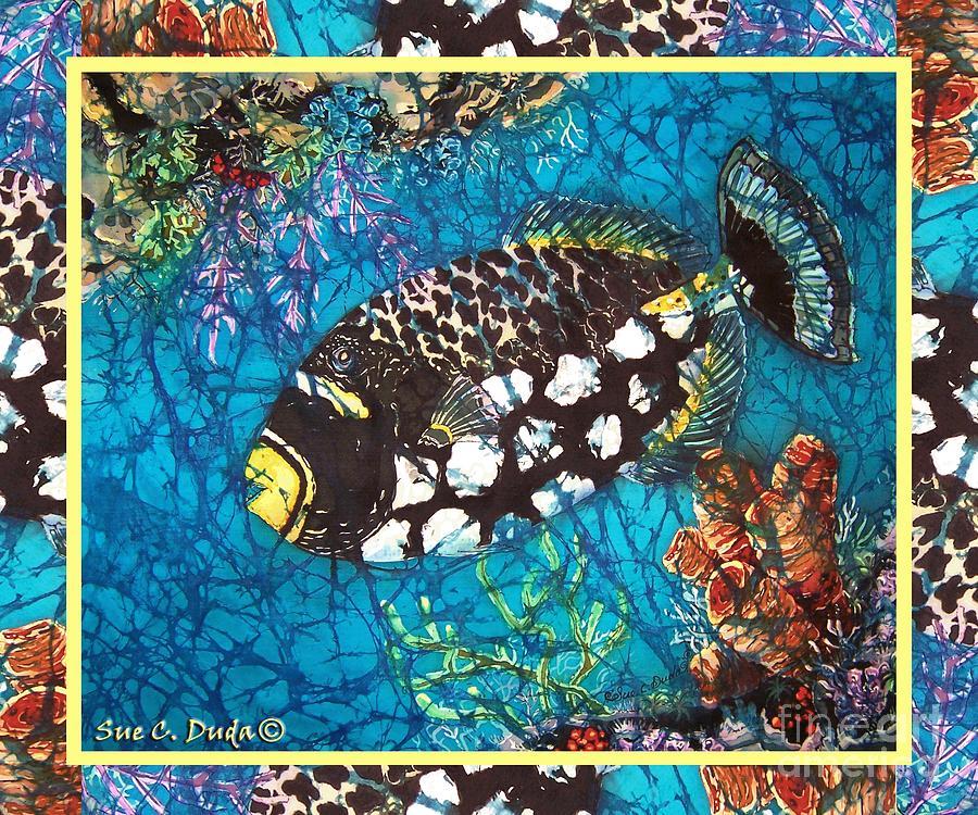 Batik Painting - Clown Triggerfish-bordered by Sue Duda