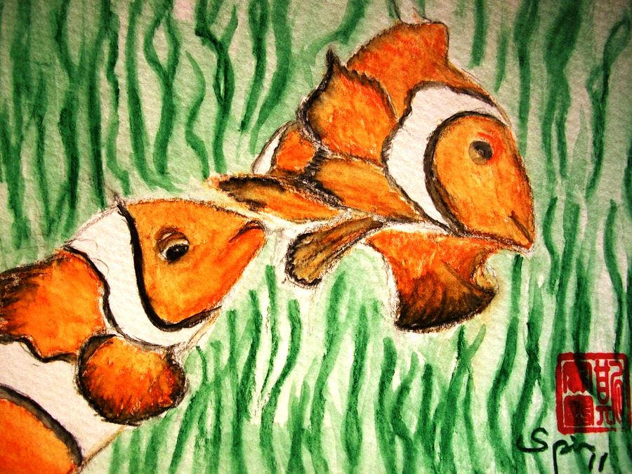Clown Fish Painting - Clowning Fish by Spencer  Joyner