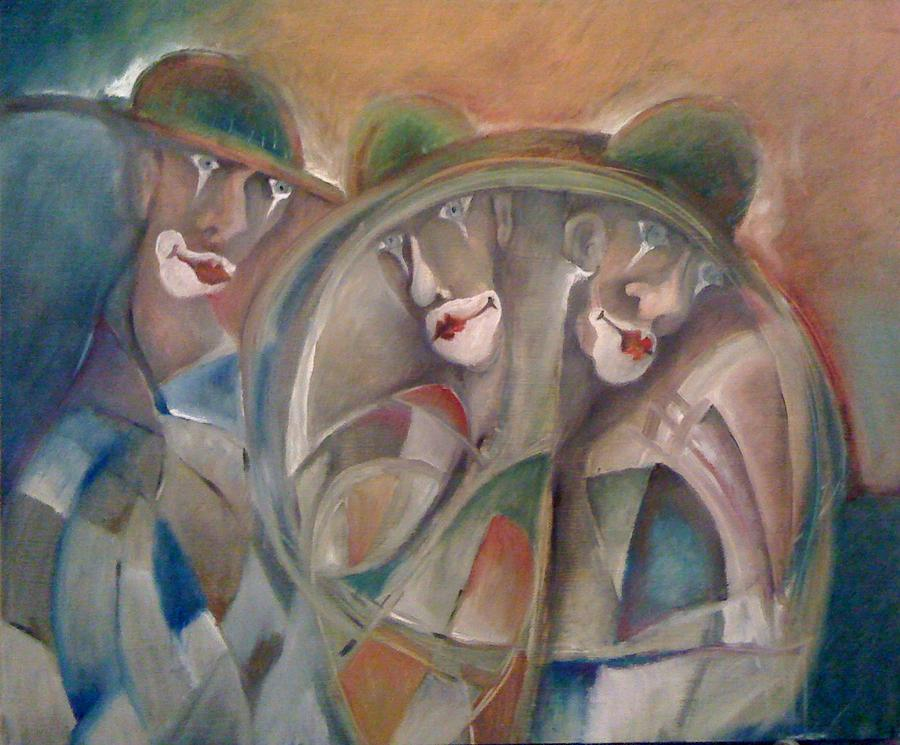 Portrait Paintings Painting - Clowns by Gyorgy Szilagyi