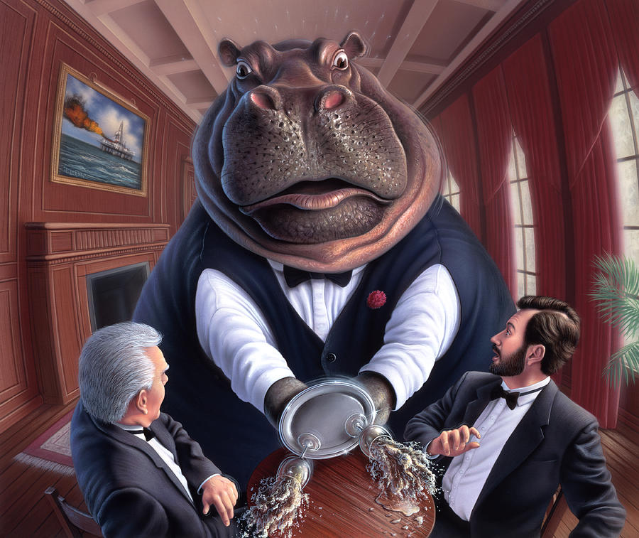Hippo Painting - Clumsy by Jerry LoFaro
