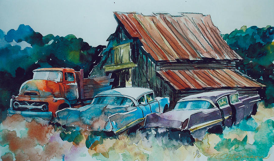 Cadillacs Painting - Cluster of Restorables by Ron Morrison