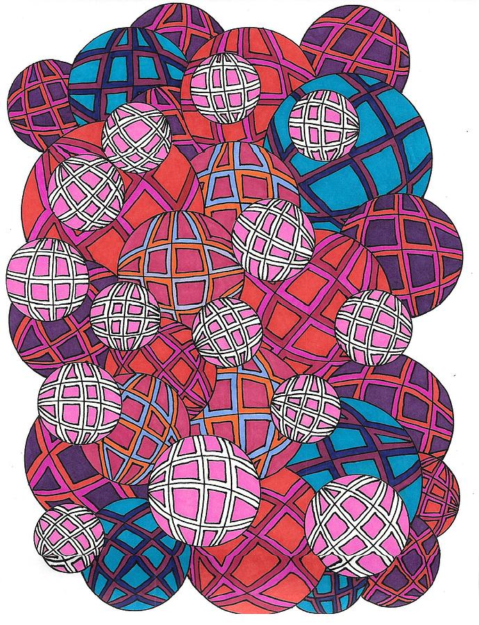 Balls Drawing - Cluster Of Spheres by Roberta Dunn