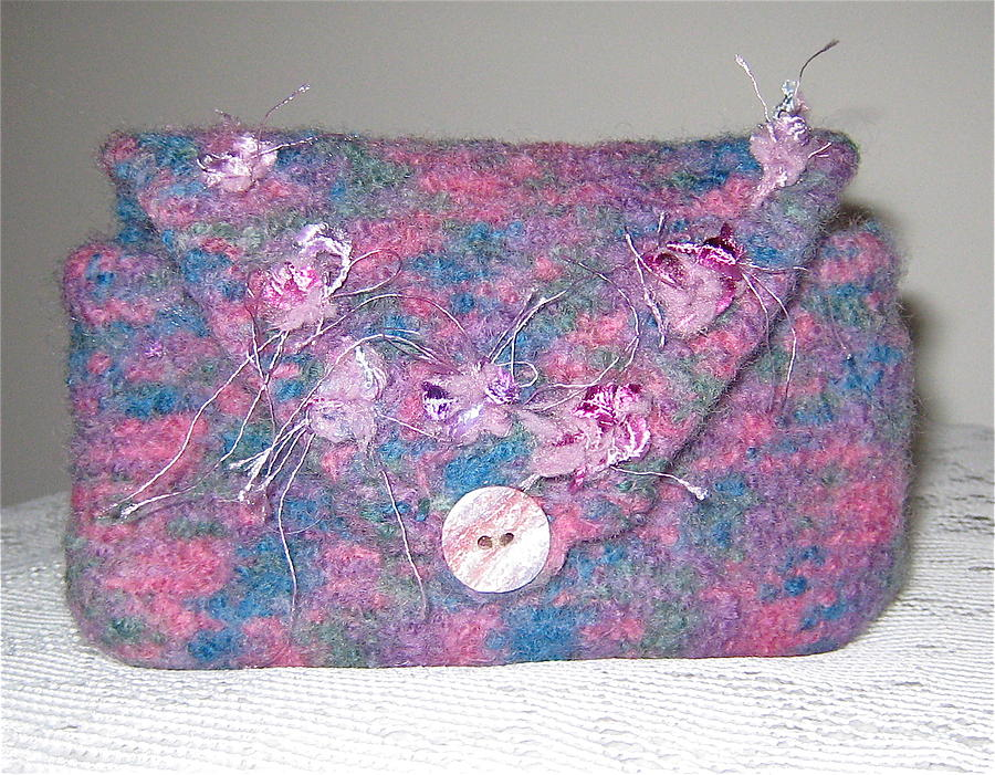 Knit Mixed Media - Clutch N Bloom by Patricia Maxwell