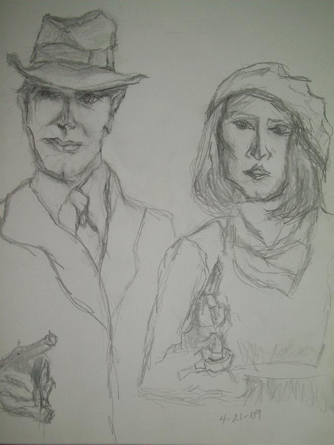 Americana Drawing - Clyde Barrow And Bonnie Parker by Nancy Caccioppo