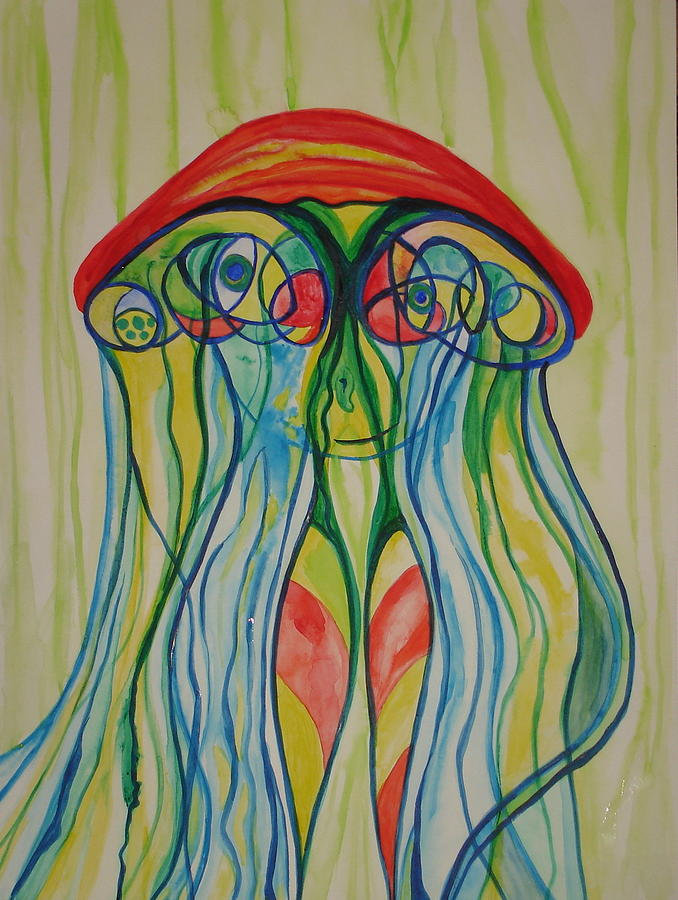 Jellyfish Painting - Clyde The Jellyfish by Erika Swartzkopf