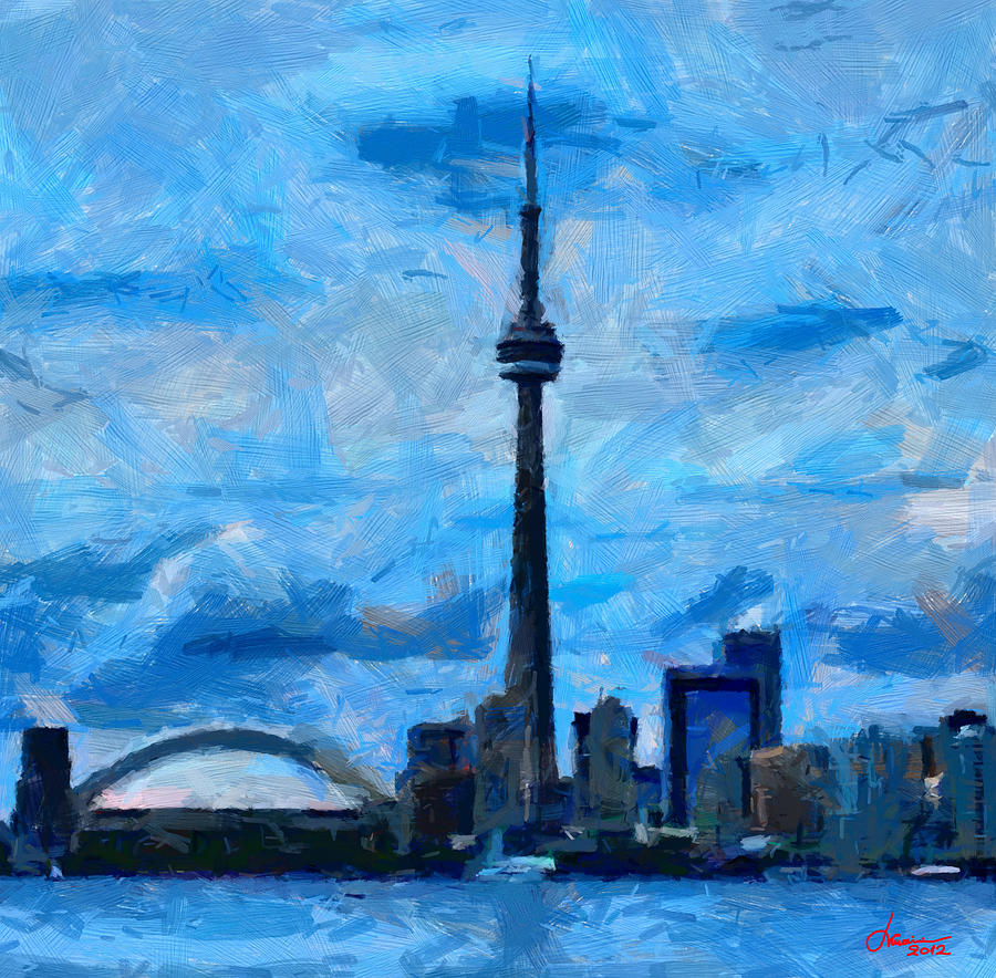 Cn tower toronto tnm painting by vincent dinovici for How to canvas art