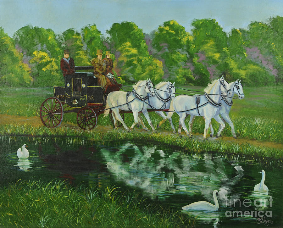 Mail Coach Painting - Coach And Four In Hand by Charlotte Blanchard