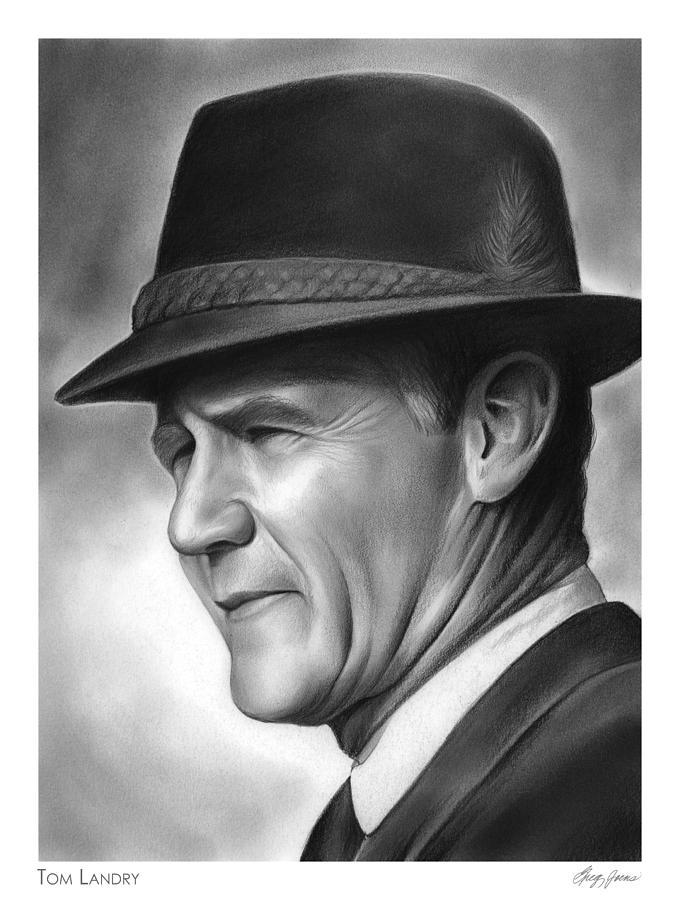 Football Drawing - Coach Tom Landry by Greg Joens
