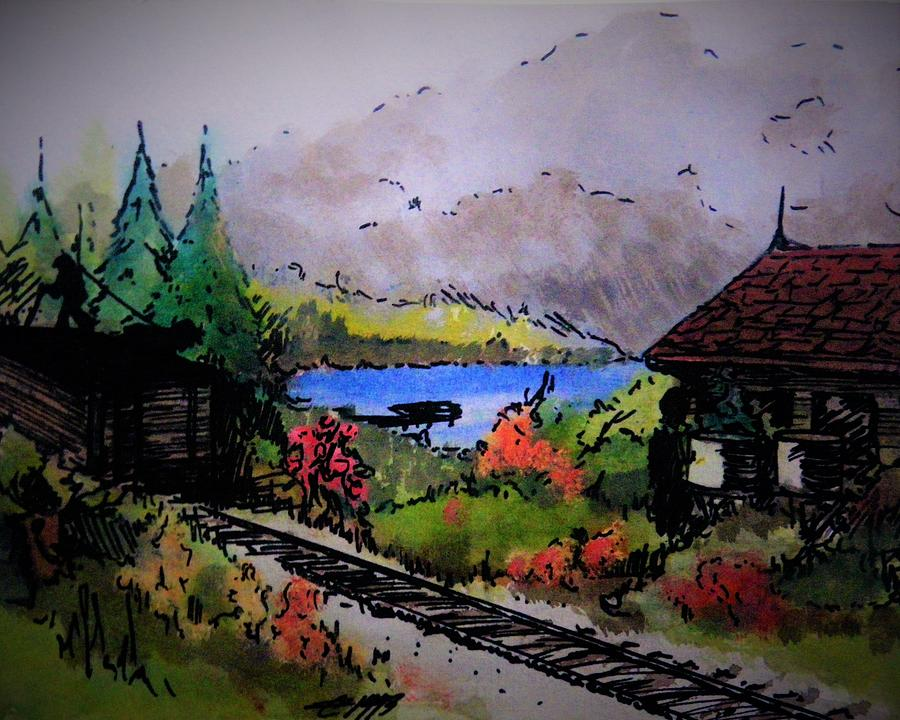 Train Painting - Coal Car by Timothy Hawkins