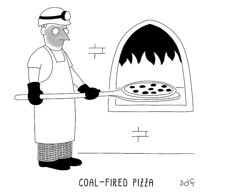 Coal Fired Pizza Drawing by Seth Fleishman