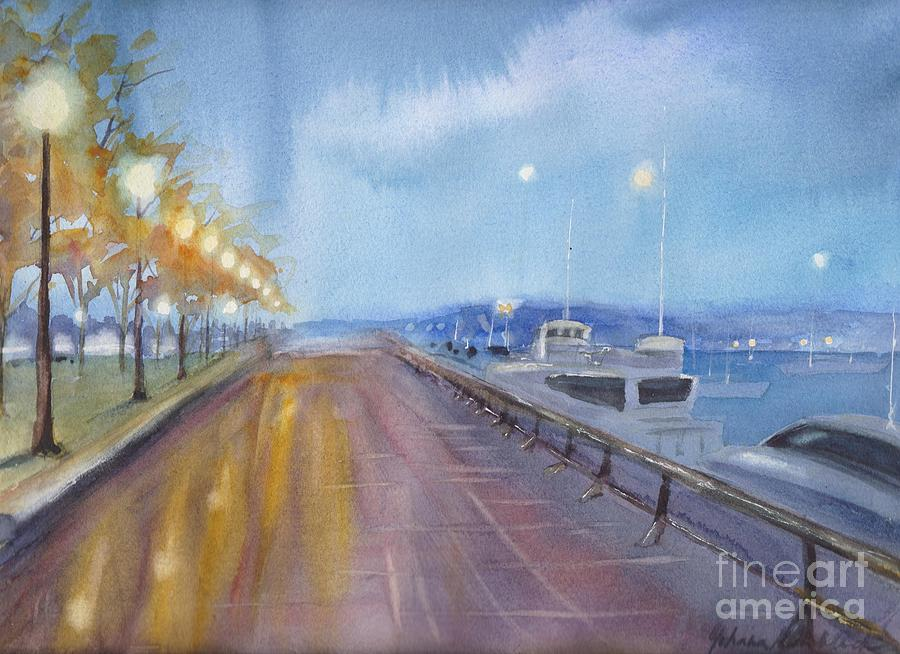Vancouver Painting - Coal Harbor At Night by Yohana Knobloch
