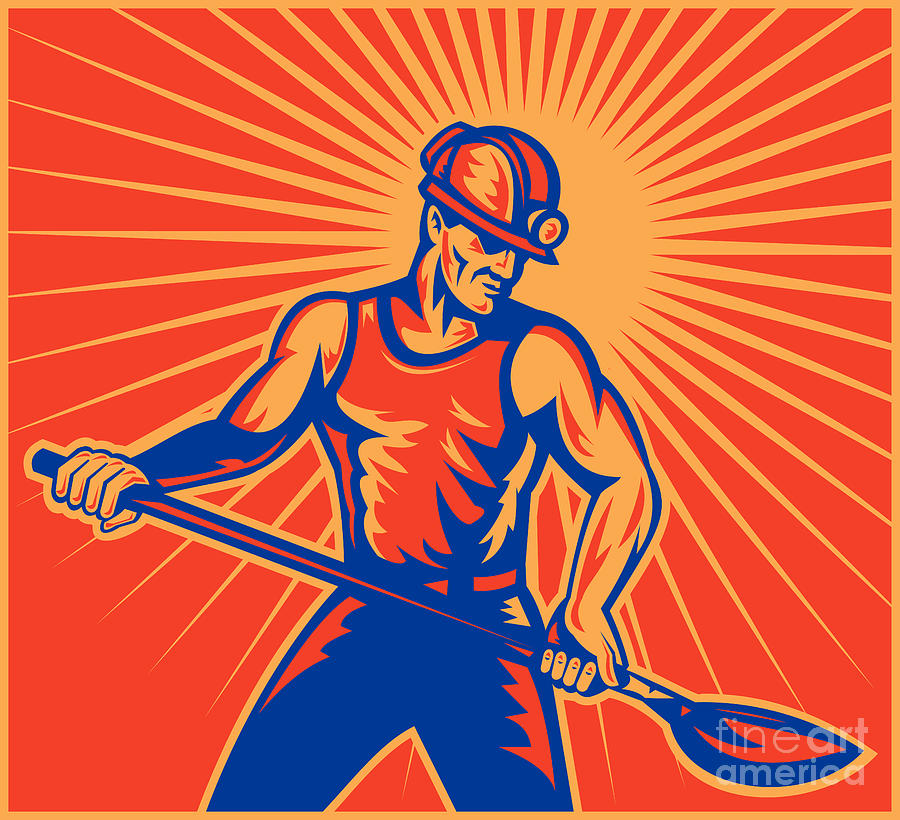 Coal Miner Digital Art - Coal Miner At Work With Shovel Front View by Aloysius Patrimonio