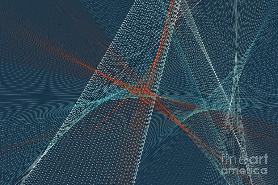 Abstract Digital Art - Coast Computer Graphic Line Pattern by Frank Ramspott