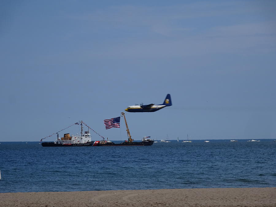 Coast Photograph - Coast Guard Boat Meets Plane by Red Cross